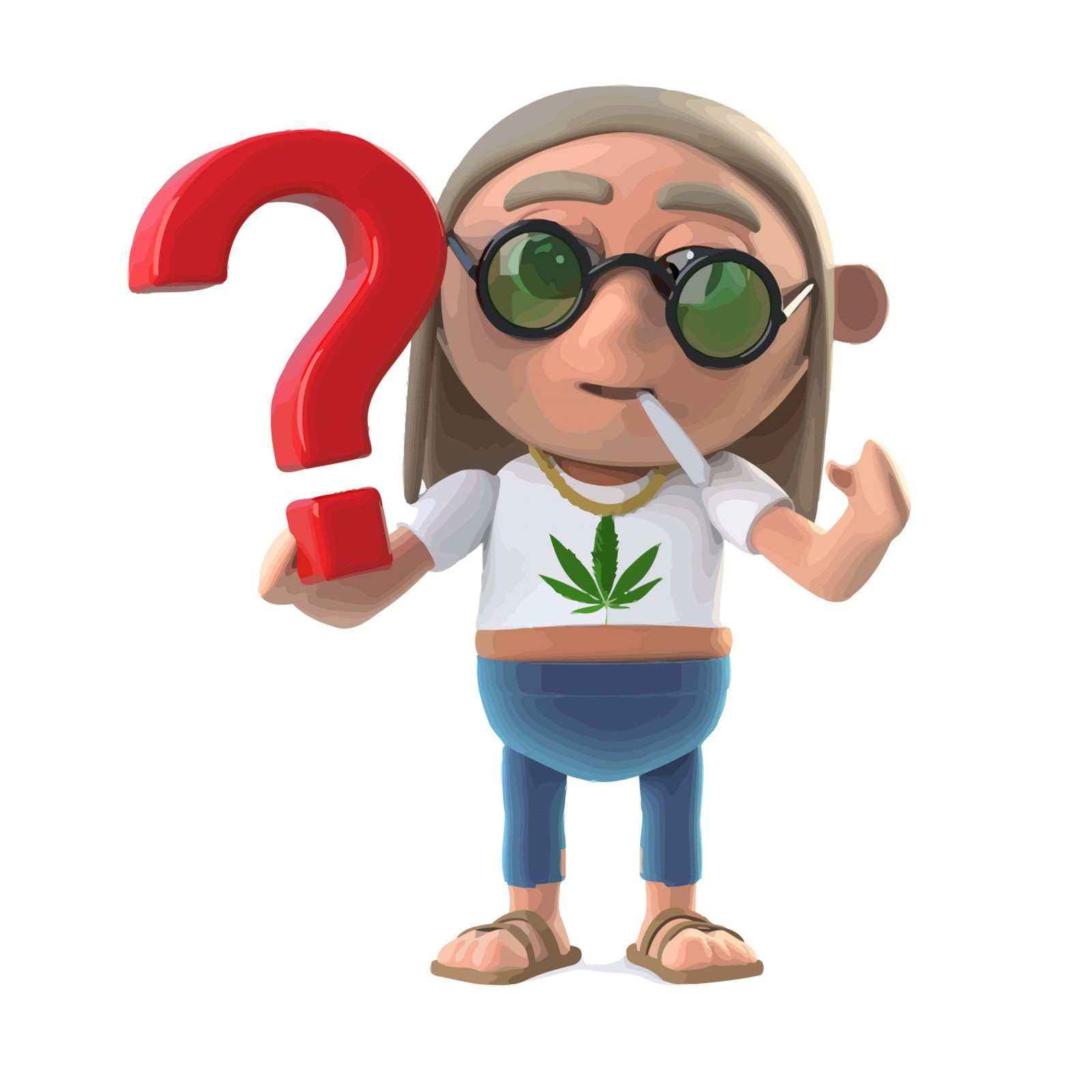 3d render of a hippie stoner holding a question mark symbol